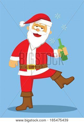 Drunk Santa with Drinking Bottle Cartoon Illustration