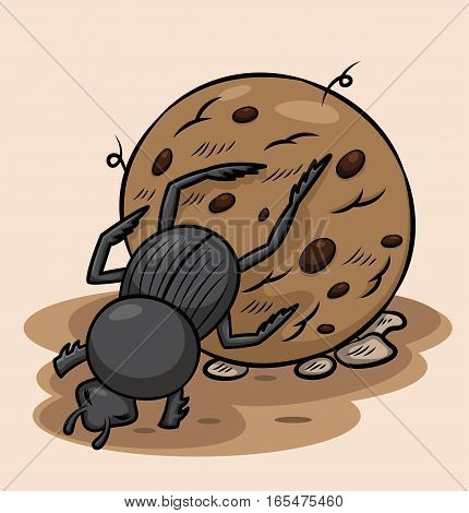 Dung Beetle with a Big Ball of Dung Cartoon Illustration