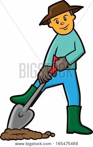 Farmer Digging Soil Cartoon Illustration Isolated on White