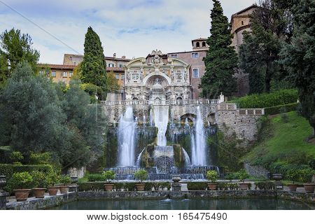 fountain of villa este tivoli important world heritage site and important traveling destination in central of italy