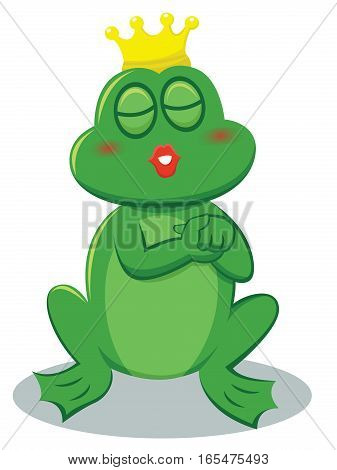 Frog Prince Kissing Cartoon Illustration Isolated on White