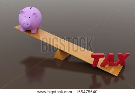 Tax Concept with Piggy Bank - 3D Rendered Image