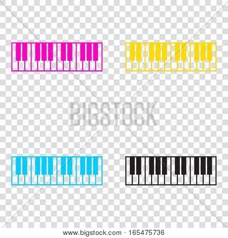 Piano Keyboard Sign. Cmyk Icons On Transparent Background. Cyan,