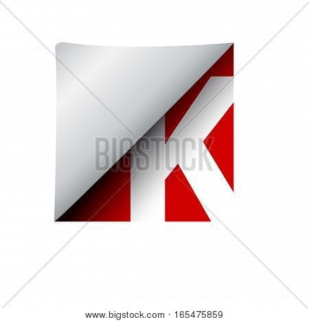 vector sign label letter K, isolated illustration