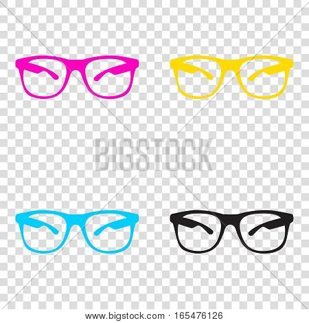 Sunglasses Sign Illustration. Cmyk Icons On Transparent Backgrou