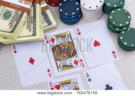 poker set - card, chips, us money