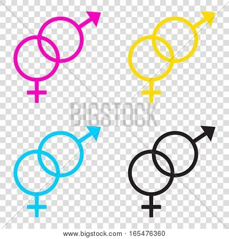 Sex Symbol Sign. Cmyk Icons On Transparent Background. Cyan, Mag