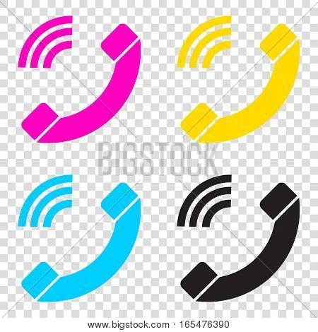 Phone Sign Illustration. Cmyk Icons On Transparent Background. C