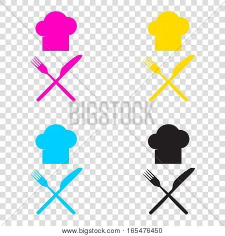 Chef With Knife And Fork Sign. Cmyk Icons On Transparent Backgro