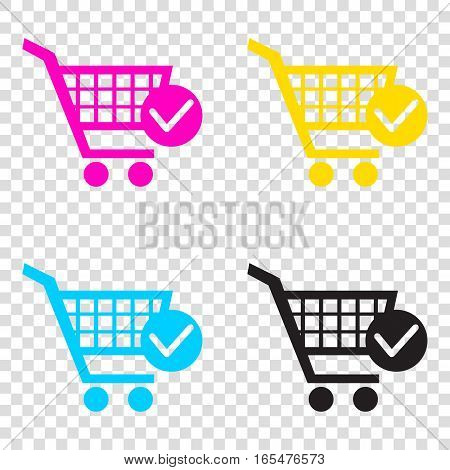 Shopping Cart With Check Mark Sign. Cmyk Icons On Transparent Ba