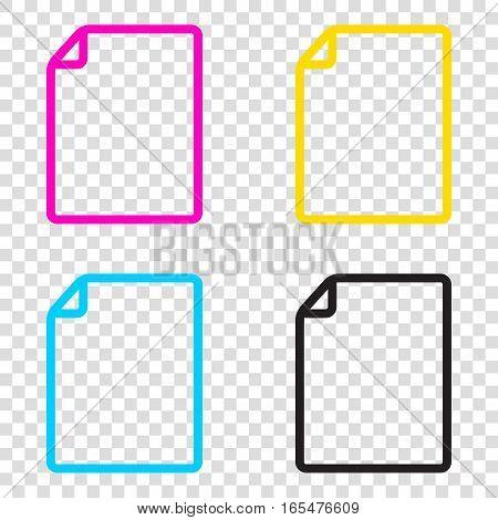 Vertical Document Sign Illustration. Cmyk Icons On Transparent B