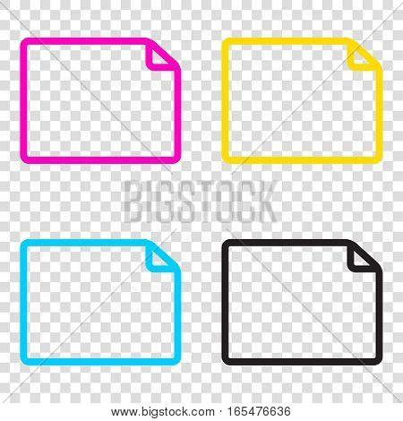 Horisontal Document Sign Illustration. Cmyk Icons On Transparent