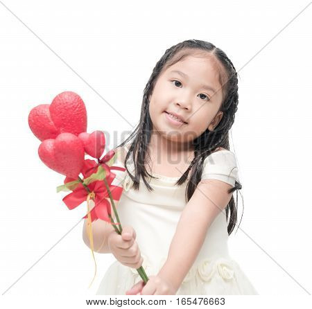 Cute Asian Little Bridesmaid Holding Heart Flower Isolated