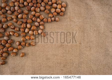 Natural hazelnuts on the background of old sacking. Top view.
