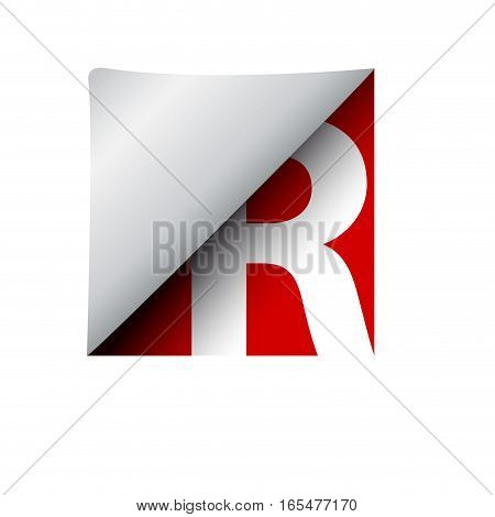 vector sign label letter R, isolated illustration