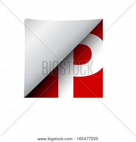 vector sign label letter P, isolated illustration