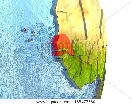 Senegal In Red On Earth