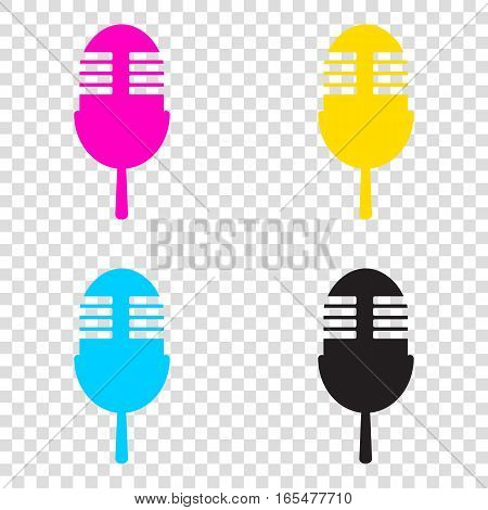 Retro Microphone Sign. Cmyk Icons On Transparent Background. Cya