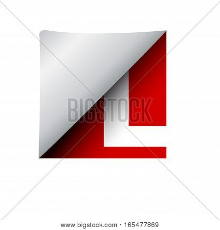vector sign label letter L, isolated illustration