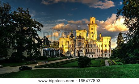 Exterior view to Hluboka nad Vltavou castle at sunset Czech Republic