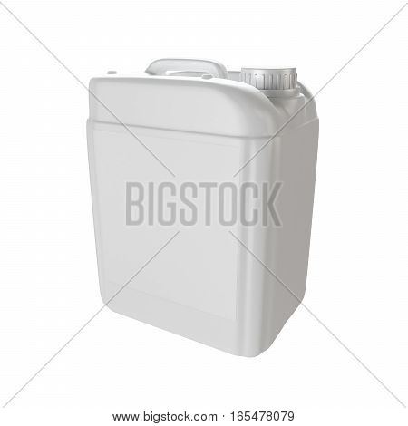 White plastic isolated jerrycan. 3d render illustration.