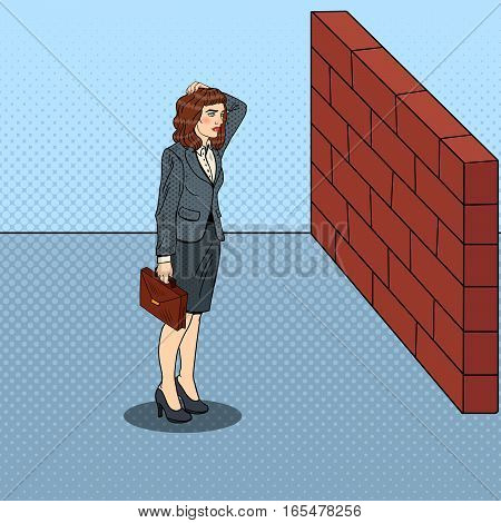 Pop Art Doubtful Business Woman Standing in Front of a Brick Wall. Vector illustration