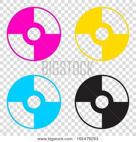 Vector Cd Or Dvd Sign. Cmyk Icons On Transparent Background. Cya