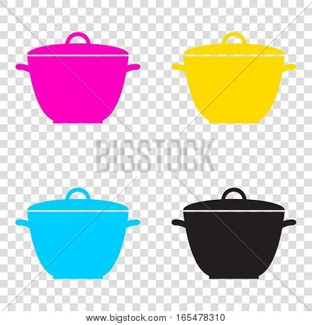Saucepan Simple Sign. Cmyk Icons On Transparent Background. Cyan