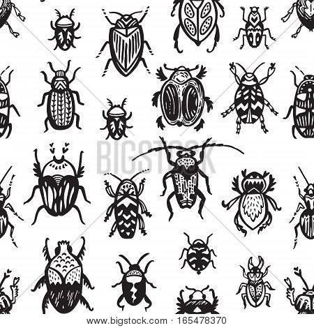 Hand drawn seamless pattern with bugs and insects. Black and white texture in vector