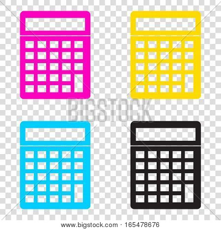 Calculator Simple Sign. Cmyk Icons On Transparent Background. Cy