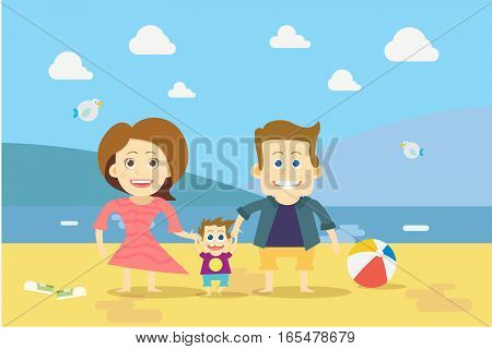 Flat design Family on the Beach Vector illustration