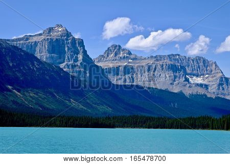 Blue lake and Rocky Mountains. Canadian Rocky Mountains. Banff National Park. British Columbia. Canada.