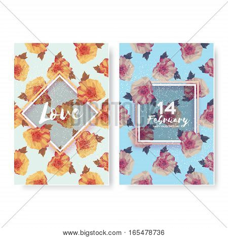 Showy Bouquet of Peony Flowers. Garden botanical natural peonies. Two Beautiful Floral Greeting cards with square, rhombus frame and space for text.14 february - happy valentines day