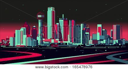 Vector illustration of a night Dallas skyline