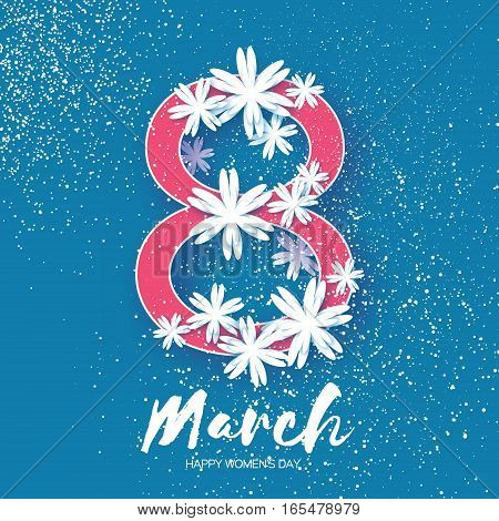 8 March. White Floral Greeting card. International Happy Women's Day. Origami flower blue holiday background with paper cut eight. Trendy Design Template. Vector illustration