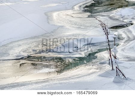 Ice Texture And Snow On The River