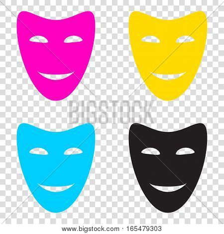 Comedy Theatrical Masks. Cmyk Icons On Transparent Background. C