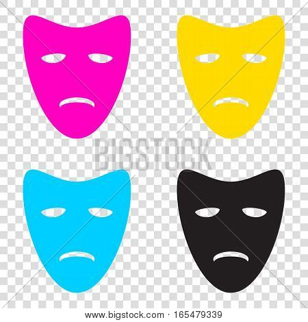 Tragedy Theatrical Masks. Cmyk Icons On Transparent Background.
