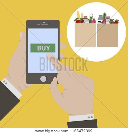 Mobile payment. Flat design. Hand holing smart phone. pressing button buy on screen. E-commerce flat design concept. Using mobile smart phone for online purchasing.