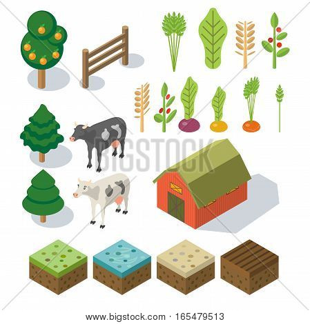 Isometric Farm in village. Elements for game: sprites and tile sets. tree, vegetables, farm building, cow. Vector flat illustrations
