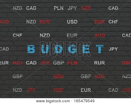 Banking concept: Painted blue text Budget on Black Brick wall background with Currency
