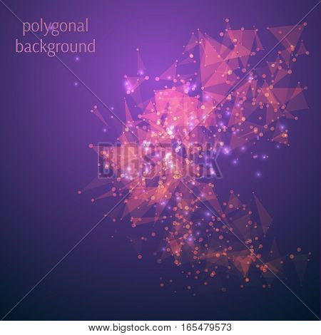Abstract low poly geometric technology vector background with connection structure. Design element decoration line and point, transform form. Vector illustration