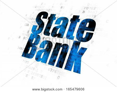 Money concept: Pixelated blue text State Bank on Digital background