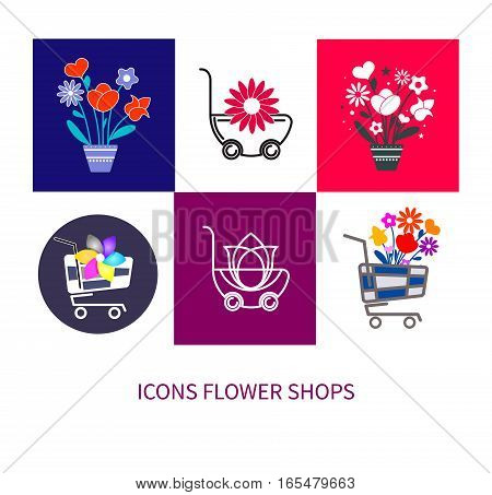 Set of logos and icons for flower shop. Online ordering and delivery. Vector illustration.