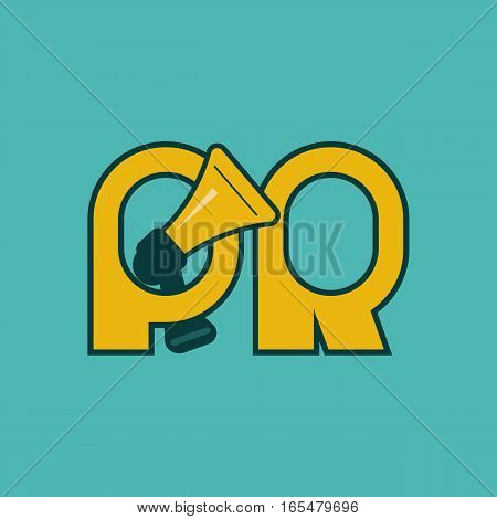 Megaphone and letters pr. Logo of advertising agency. Icon public relations. Vector illustration.