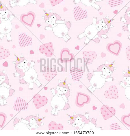 Valentine's Day seamless background with cute pink unicorn and pink hearts on pink background suitable for Valentine's Day wallpaper, scrap paper, and postcard