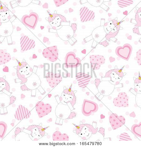 Valentine's Day seamless background with cute pink unicorn and pink hearts on polka dot background suitable for Valentine's Day wallpaper, scrap paper, and postcard