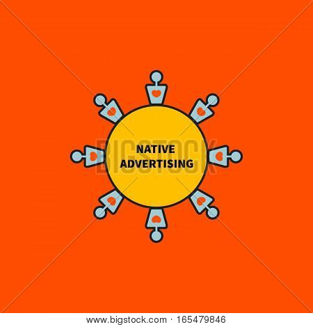 Icon for native advertising. People with hearts arranged in circle.Idea of Internet marketing. Vector illustration.