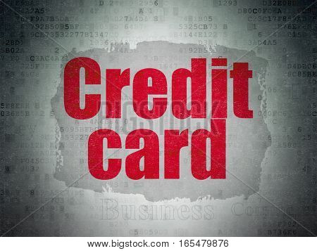 Currency concept: Painted red text Credit Card on Digital Data Paper background with   Tag Cloud