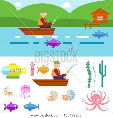 Flat Style Underwater Life with Fisherman on a boat Vector illustration